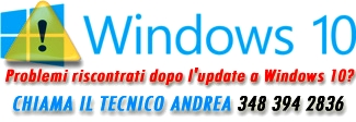 Problemi riscontrati dopo l'update a Windows 10